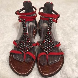 Sam Edelman ginger red gladiator strappy sandals